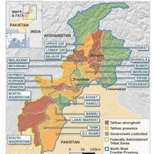 Taliban Strong Hold Areas in North West Pakistan, source BBC